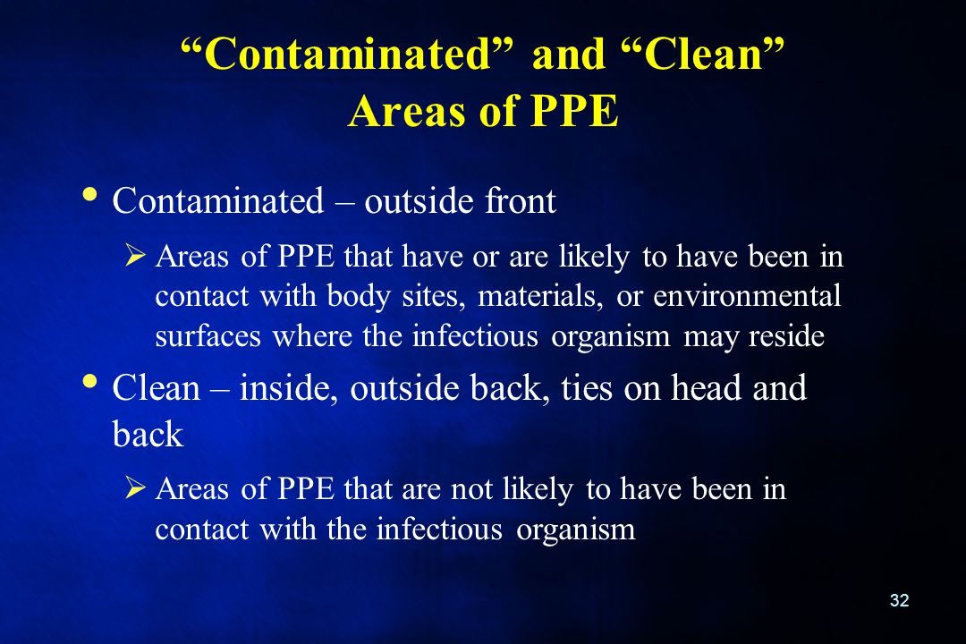"""Contaminated"" and ""Clean"" Areas of PPE 32 Contaminated – outside front  Areas of PPE that have or are likely to have been in contact with body sites"