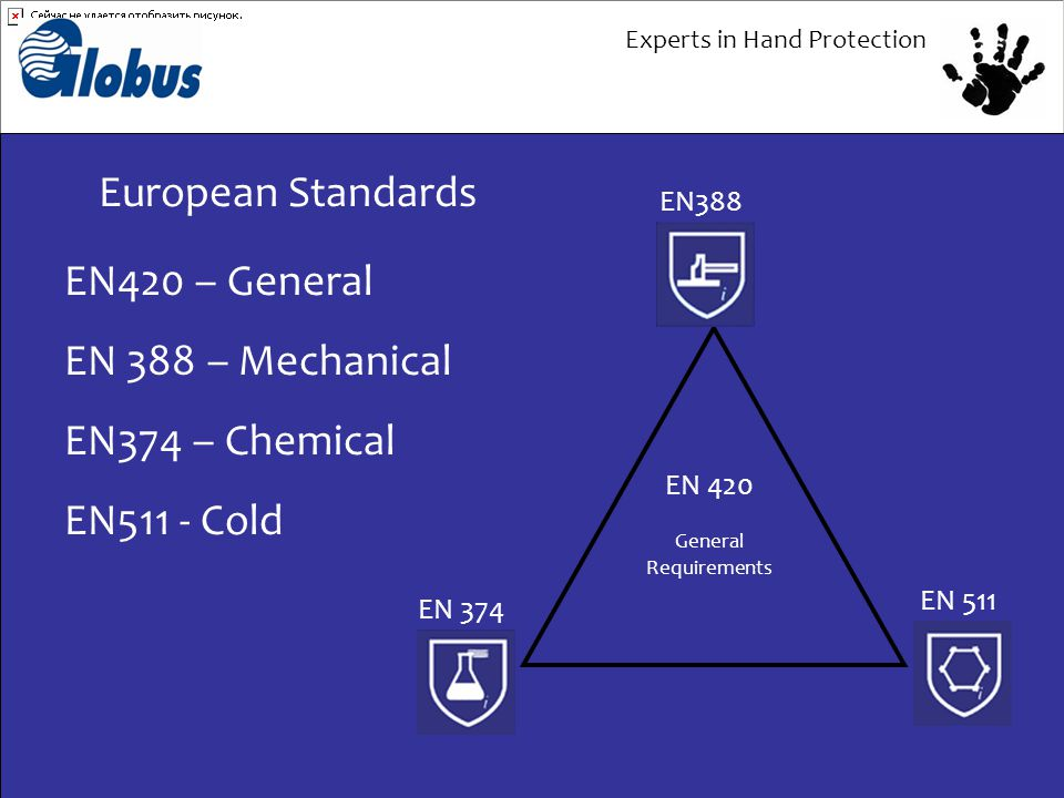 Experts in Hand Protection European Standards EN 511 EN 374 EN388 EN 420 General Requirements EN420 – General EN 388 – Mechanical EN374 – Chemical EN511 - Cold
