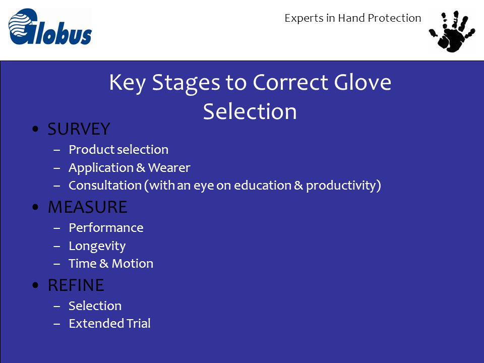 Experts in Hand Protection SURVEY –Product selection –Application & Wearer –Consultation (with an eye on education & productivity) MEASURE –Performanc