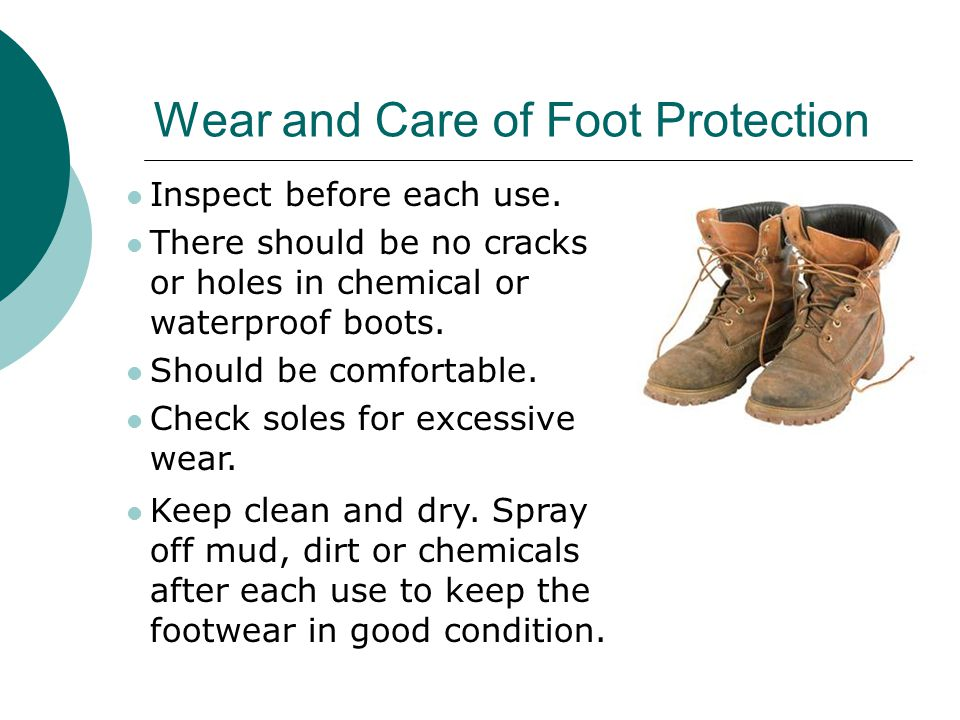 Foot Protection  All DFCM employees doing maintenance activities must wear steel-toed shoes while at work. Contact your supervisor if you do not have