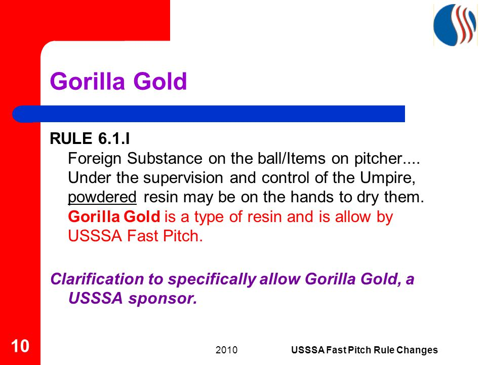 Gorilla Gold RULE 6.1.I Foreign Substance on the ball/Items on pitcher....