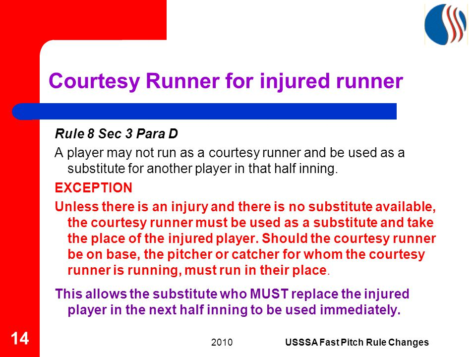Rule 8 Sec 3 Para D A player may not run as a courtesy runner and be used as a substitute for another player in that half inning.