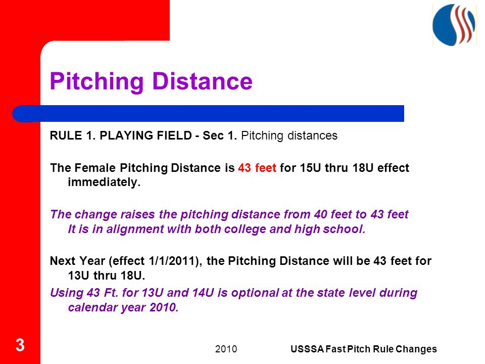 Pitching Distance RULE 1. PLAYING FIELD - Sec 1.