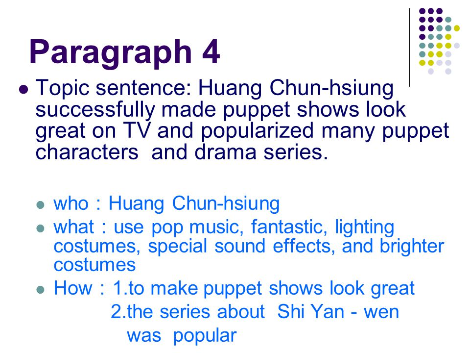 Paragraph 4 Topic sentence: Huang Chun-hsiung successfully made puppet shows look great on TV and popularized many puppet characters and drama series.