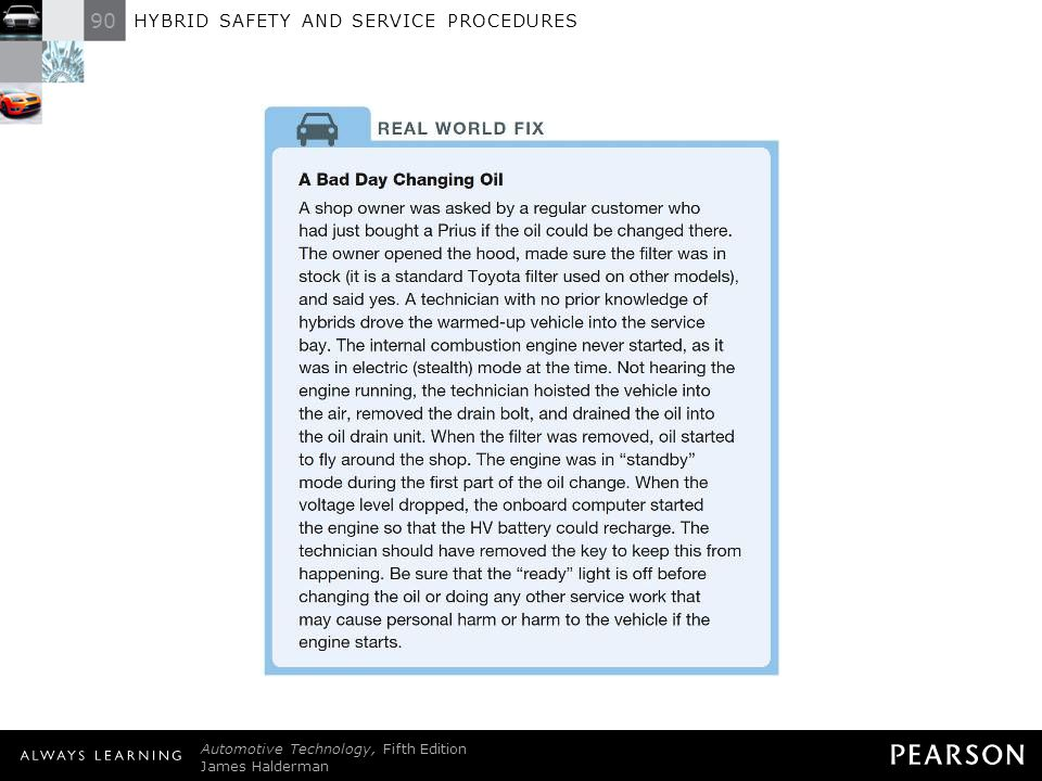 90 HYBRID SAFETY AND SERVICE PROCEDURES Automotive Technology, Fifth Edition James Halderman © 2011 Pearson Education, Inc. All Rights Reserved REAL W