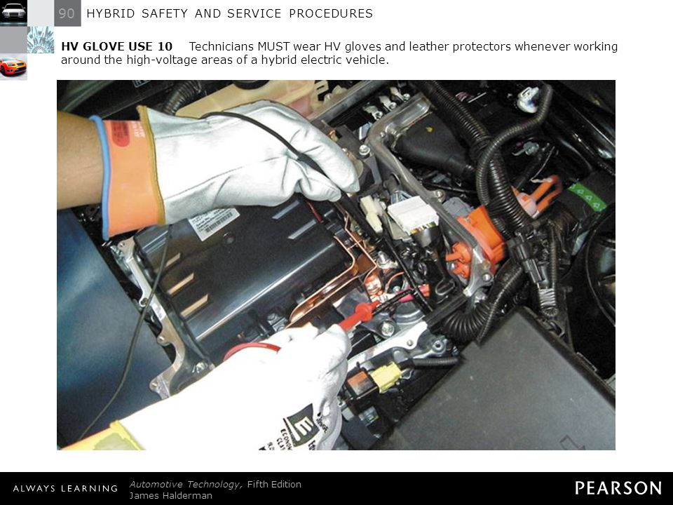 90 HYBRID SAFETY AND SERVICE PROCEDURES Automotive Technology, Fifth Edition James Halderman © 2011 Pearson Education, Inc. All Rights Reserved HV GLO