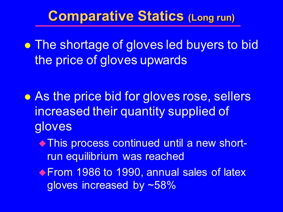 Comparative Statics (Long run) l The shortage of gloves led buyers to bid the price of gloves upwards l As the price bid for gloves rose, sellers increased their quantity supplied of gloves  This process continued until a new short- run equilibrium was reached  From 1986 to 1990, annual sales of latex gloves increased by ~58%