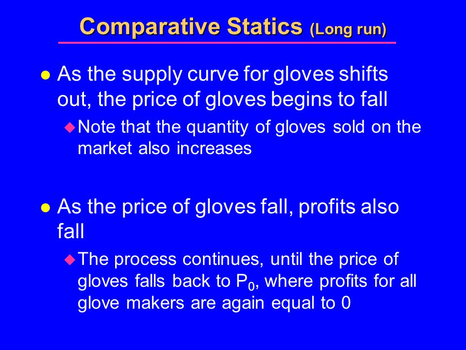 Comparative Statics (Long run) l As the supply curve for gloves shifts out, the price of gloves begins to fall  Note that the quantity of gloves sold on the market also increases l As the price of gloves fall, profits also fall  The process continues, until the price of gloves falls back to P 0, where profits for all glove makers are again equal to 0