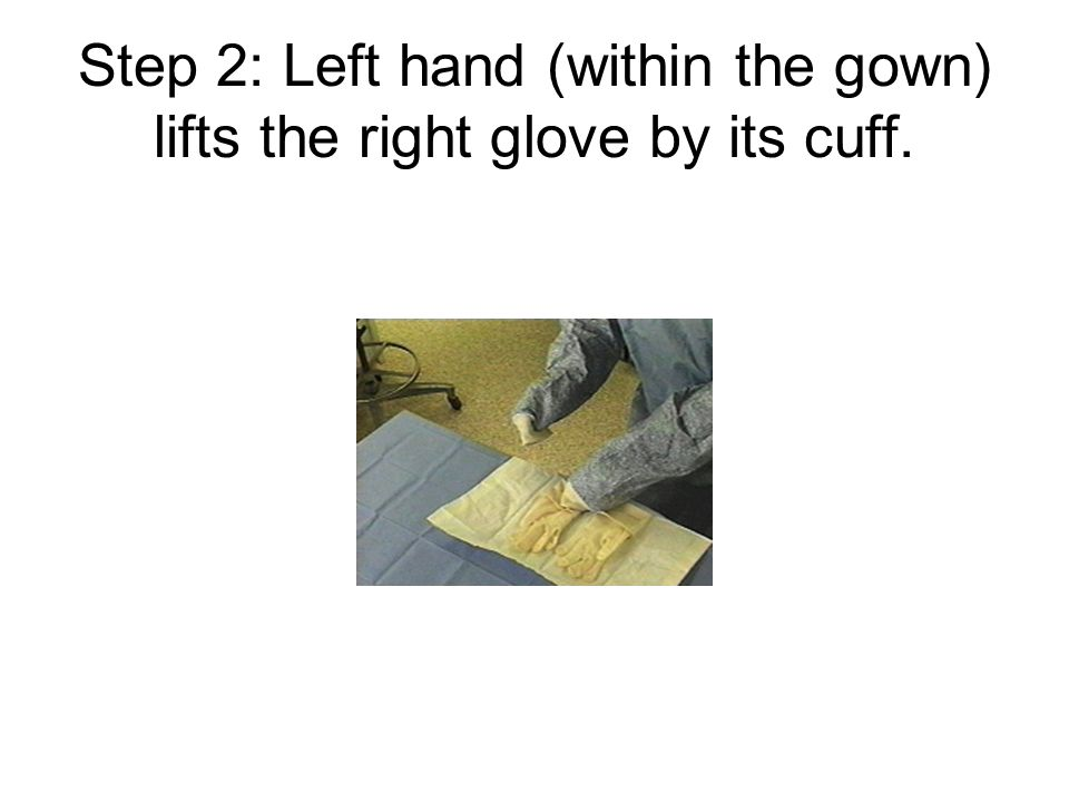 Step 2: Left hand (within the gown) lifts the right glove by its cuff.