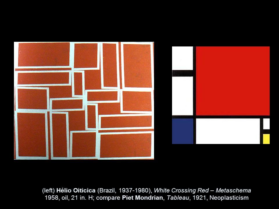 (left) Hélio Oiticica (Brazil, 1937-1980), White Crossing Red – Metaschema 1958, oil, 21 in.
