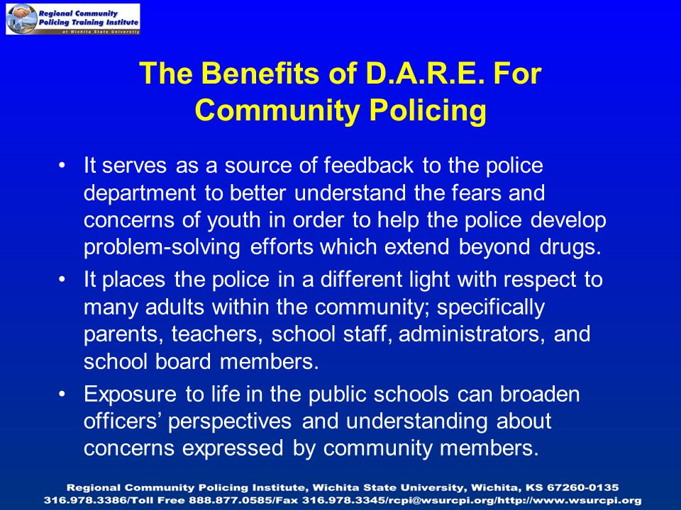 It serves as a source of feedback to the police department to better understand the fears and concerns of youth in order to help the police develop problem-solving efforts which extend beyond drugs.