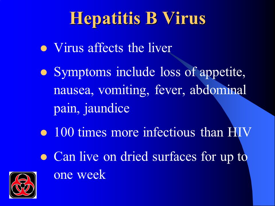 Hepatitis B Virus Virus affects the liver Symptoms include loss of appetite, nausea, vomiting, fever, abdominal pain, jaundice 100 times more infectious than HIV Can live on dried surfaces for up to one week
