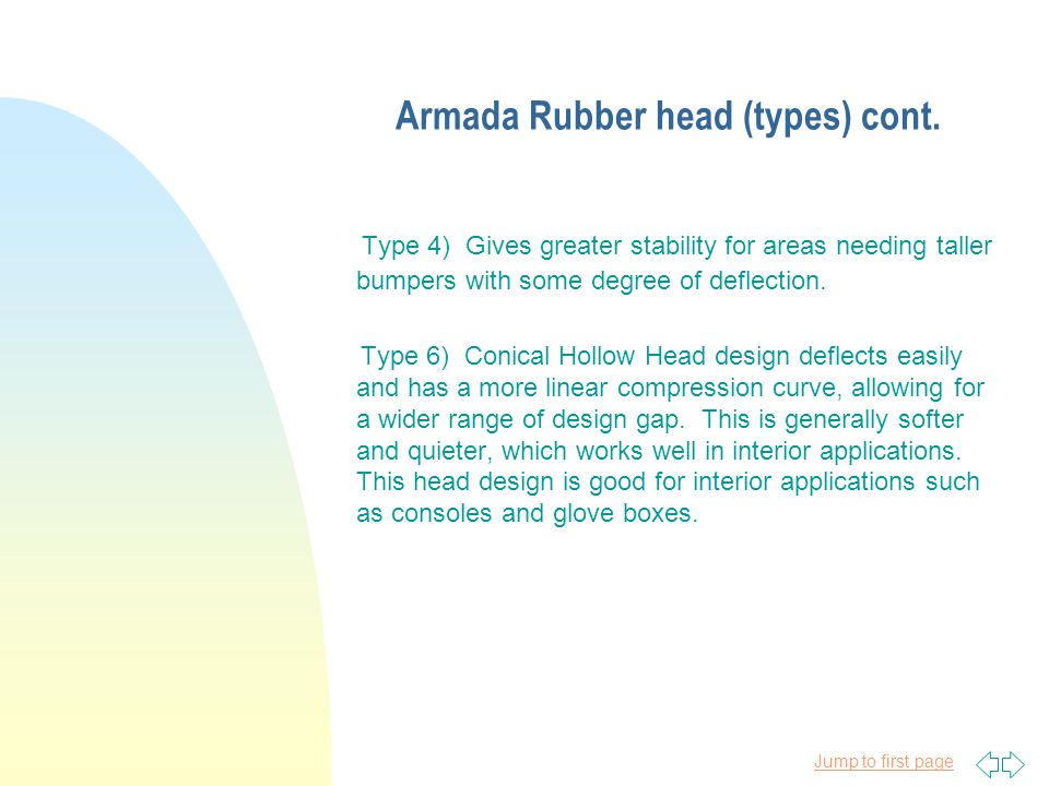 Jump to first page Armada Rubber head (types) cont.