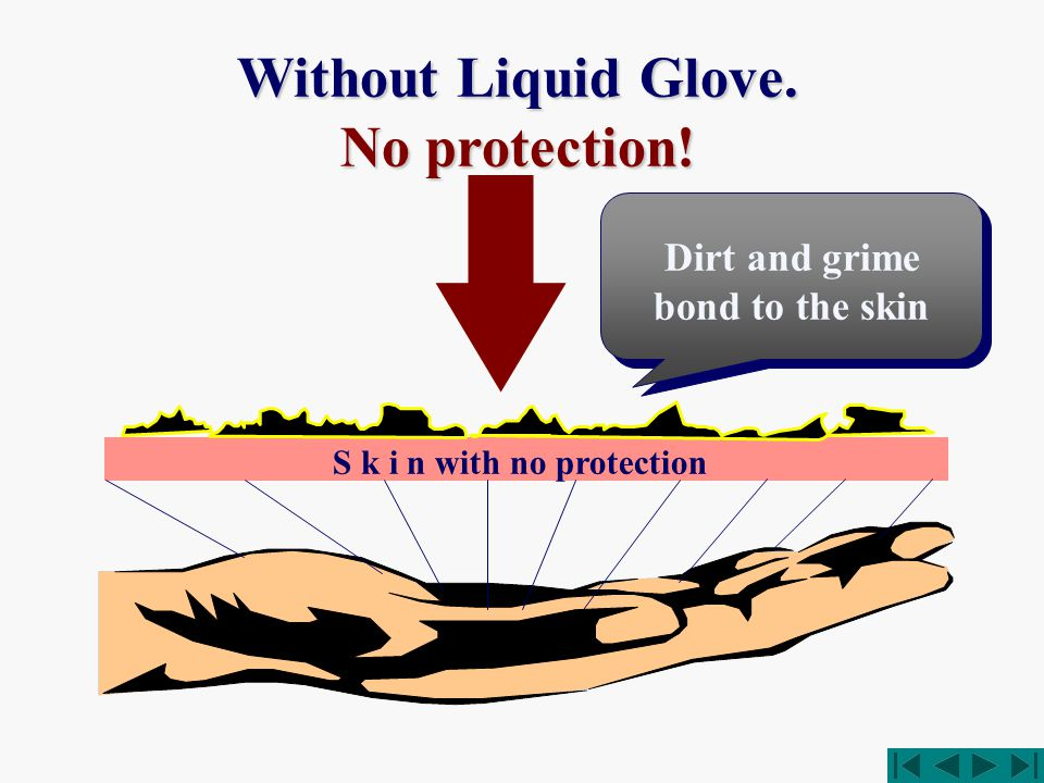 S k i n with no protection Without Liquid Glove. No protection! Dirt and grime bond to the skin