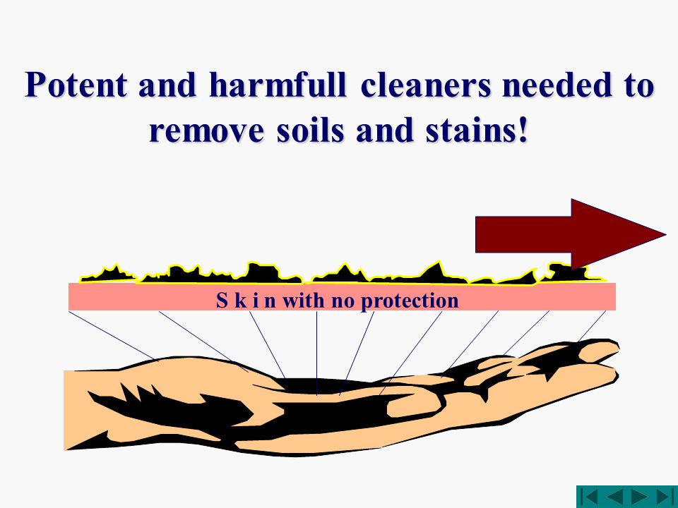 Potent and harmfull cleaners needed to remove soils and stains! S k i n with no protection