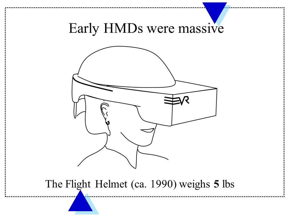 The Flight Helmet (ca. 1990) weighs 5 lbs Early HMDs were massive