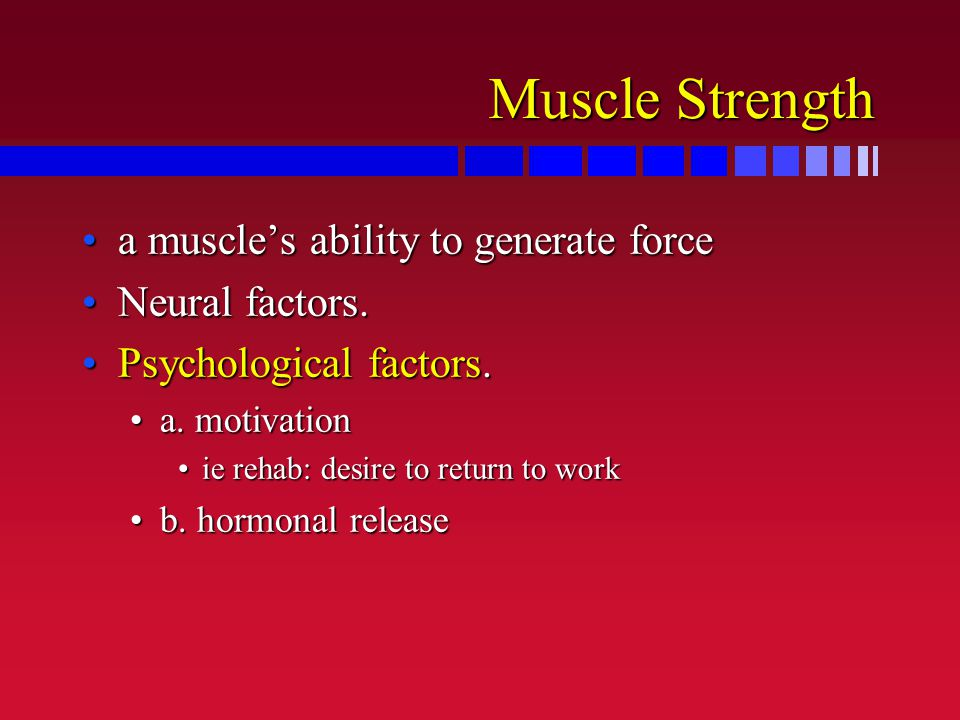 Muscle Strength a muscle's ability to generate forcea muscle's ability to generate force Neural factors.Neural factors. Psychological factors.Psycholo