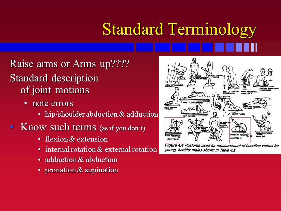 Standard Terminology Raise arms or Arms up???? Standard description of joint motions note errorsnote errors hip/shoulder abduction & adductionhip/shou