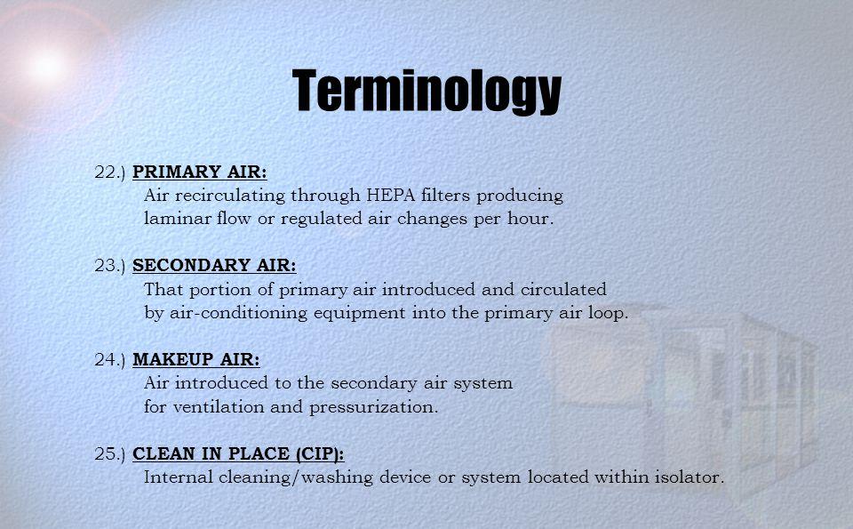 Terminology 22.) PRIMARY AIR: Air recirculating through HEPA filters producing laminar flow or regulated air changes per hour.