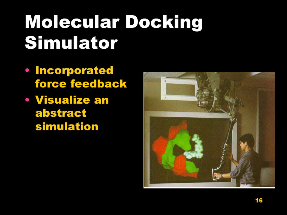 16 Molecular Docking Simulator Incorporated force feedback Visualize an abstract simulation