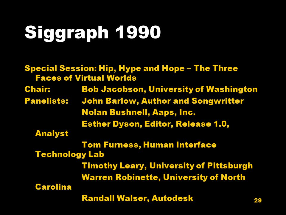 29 Siggraph 1990 Special Session: Hip, Hype and Hope – The Three Faces of Virtual Worlds Chair:Bob Jacobson, University of Washington Panelists:John Barlow, Author and Songwritter Nolan Bushnell, Aaps, Inc.