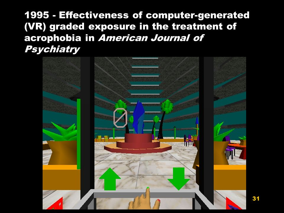 31 1995 - Effectiveness of computer-generated (VR) graded exposure in the treatment of acrophobia in American Journal of Psychiatry