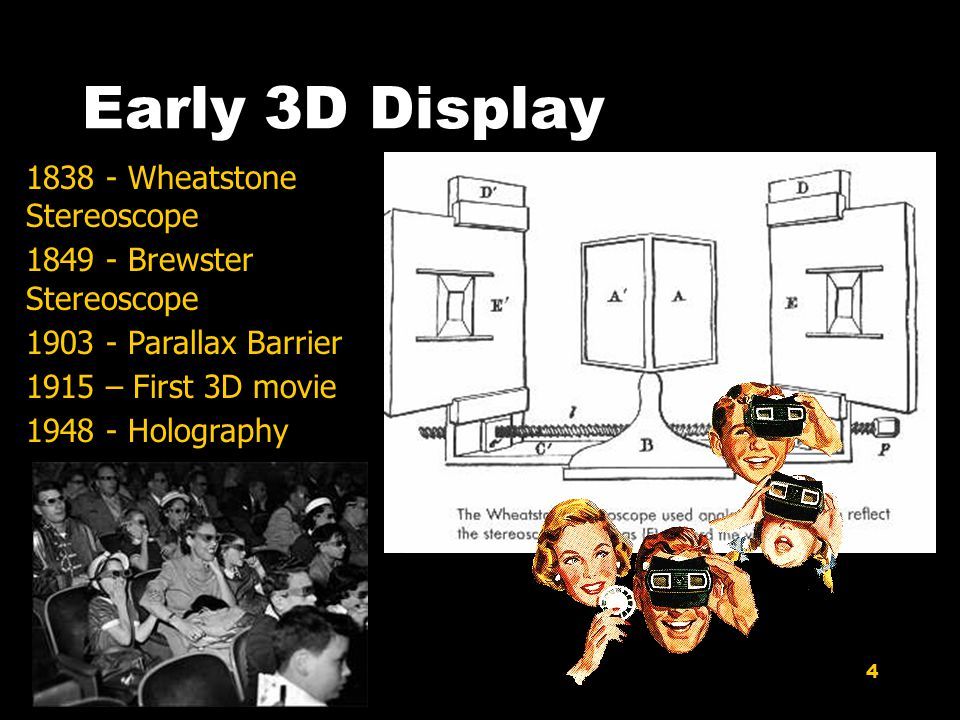 4 Early 3D Display 1838 - Wheatstone Stereoscope 1849 - Brewster Stereoscope 1903 - Parallax Barrier 1915 – First 3D movie 1948 - Holography