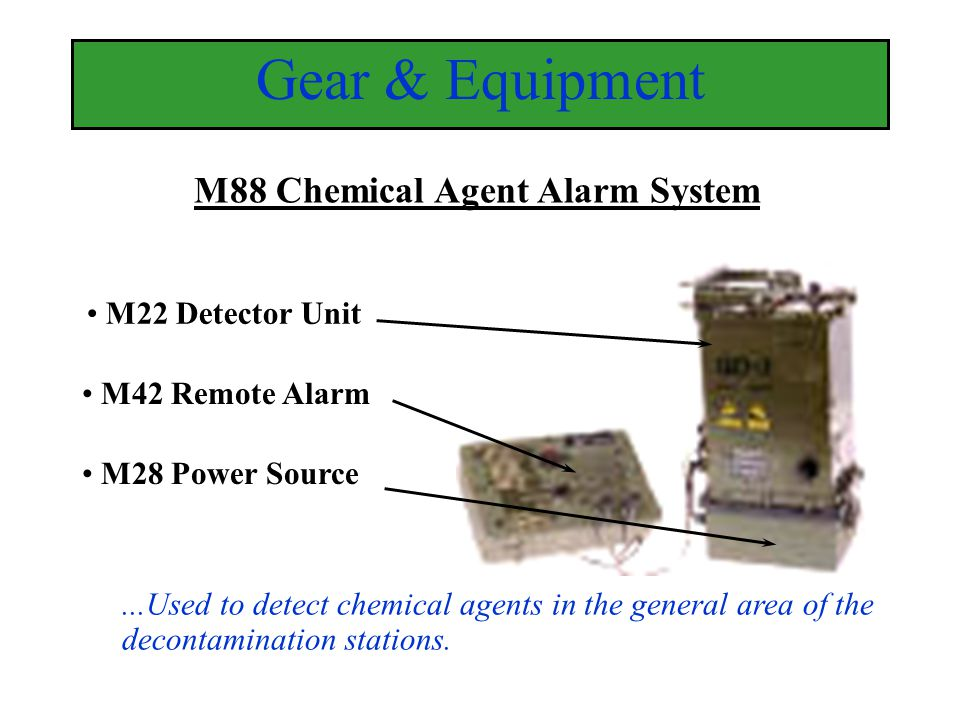 M22 Detector Unit M42 Remote Alarm M28 Power Source M88 Chemical Agent Alarm System Gear & Equipment...Used to detect chemical agents in the general a