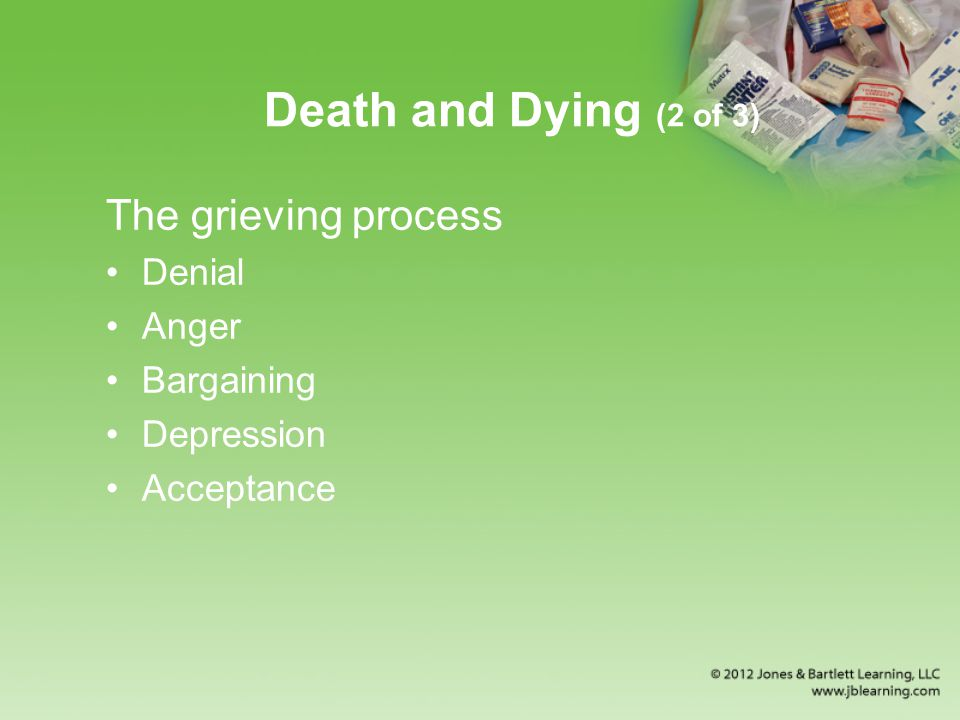Death and Dying (2 of 3) The grieving process Denial Anger Bargaining Depression Acceptance