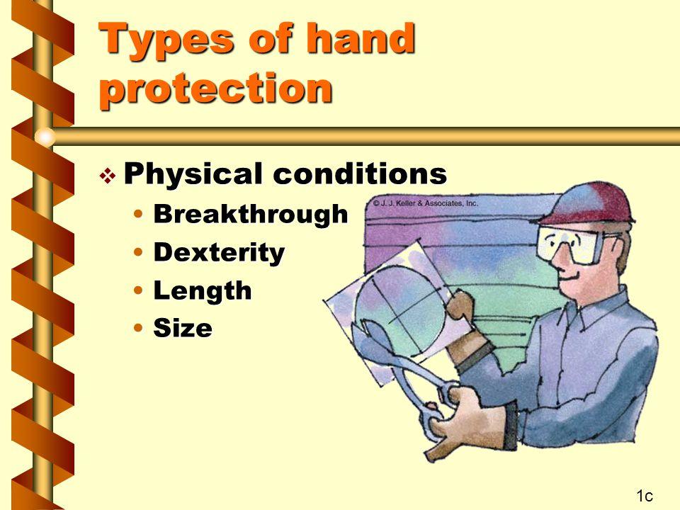 Types of hand protection v Barrier creams VanishingVanishing Water-repellentWater-repellent Solvent-repellentSolvent-repellent SunscreenSunscreen 1d