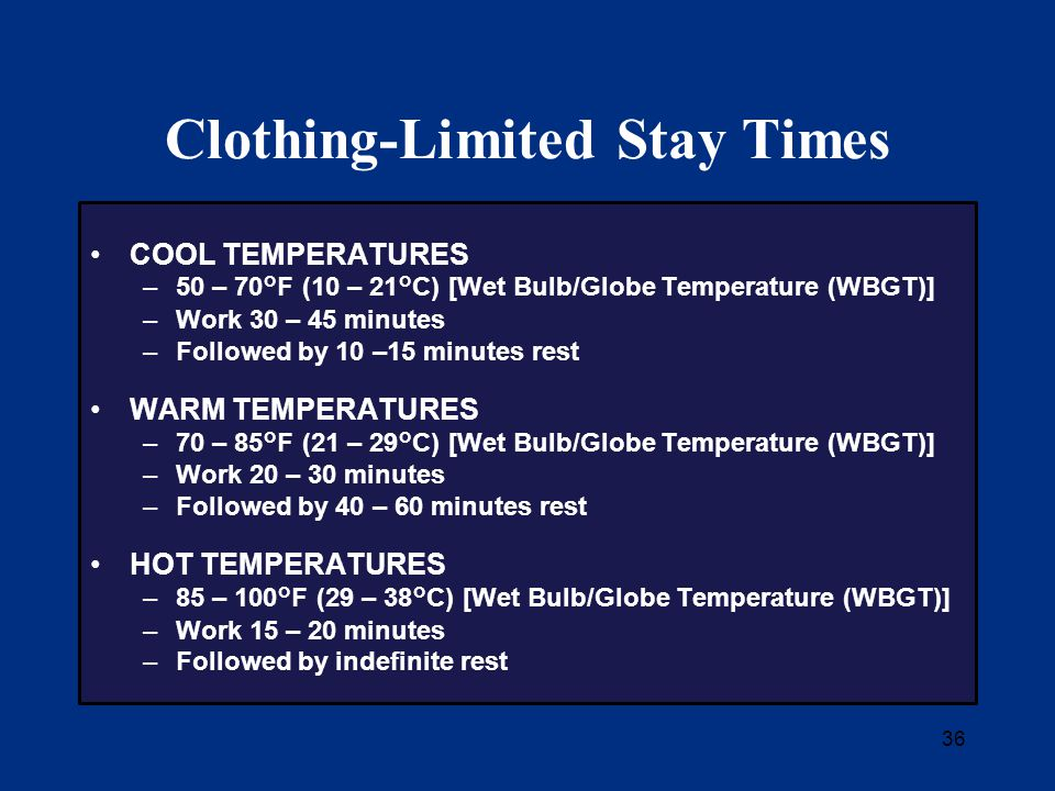36 Clothing-Limited Stay Times COOL TEMPERATURES –50 – 70°F (10 – 21°C) [Wet Bulb/Globe Temperature (WBGT)] –Work 30 – 45 minutes –Followed by 10 –15 minutes rest WARM TEMPERATURES –70 – 85°F (21 – 29°C) [Wet Bulb/Globe Temperature (WBGT)] –Work 20 – 30 minutes –Followed by 40 – 60 minutes rest HOT TEMPERATURES –85 – 100°F (29 – 38°C) [Wet Bulb/Globe Temperature (WBGT)] –Work 15 – 20 minutes –Followed by indefinite rest
