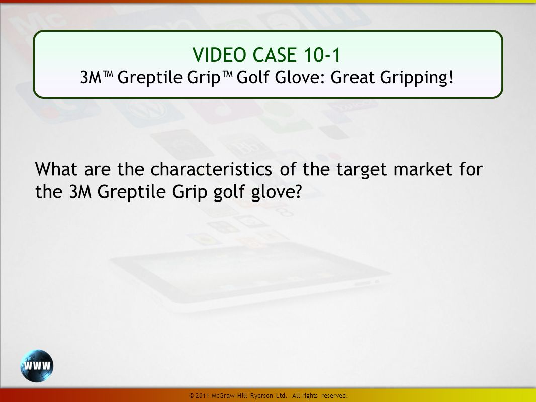 VIDEO CASE 10-1 3M™ Greptile Grip™ Golf Glove: Great Gripping.