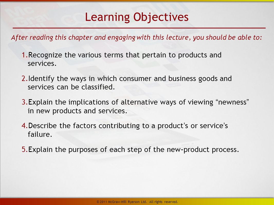 1. Recognize the various terms that pertain to products and services.