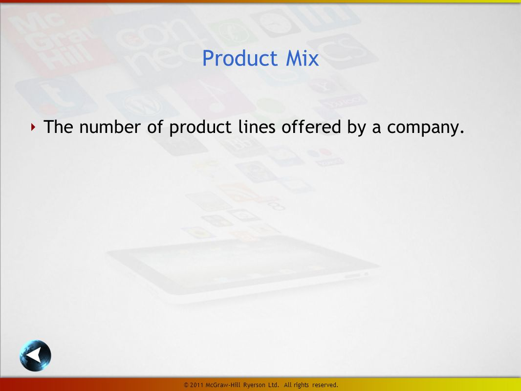 ‣ The number of product lines offered by a company.
