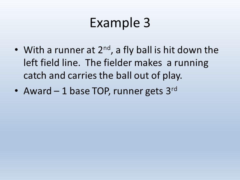 Example 3 With a runner at 2 nd, a fly ball is hit down the left field line.