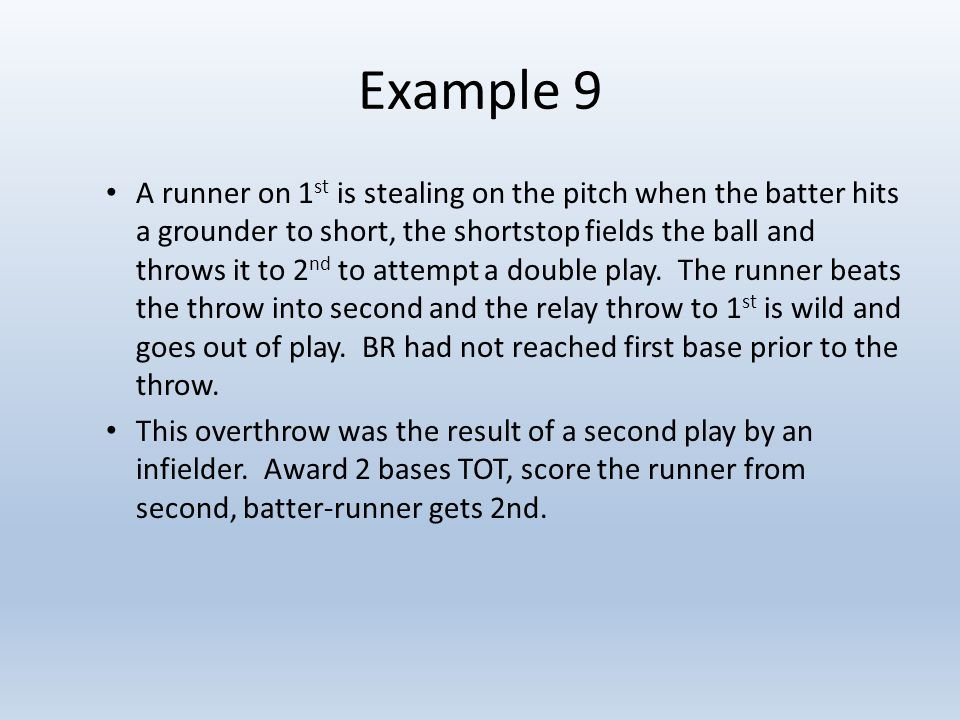 Example 9 A runner on 1 st is stealing on the pitch when the batter hits a grounder to short, the shortstop fields the ball and throws it to 2 nd to attempt a double play.