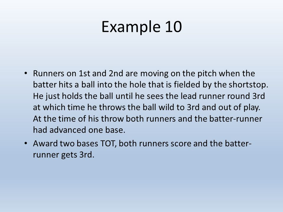 Example 10 Runners on 1st and 2nd are moving on the pitch when the batter hits a ball into the hole that is fielded by the shortstop.