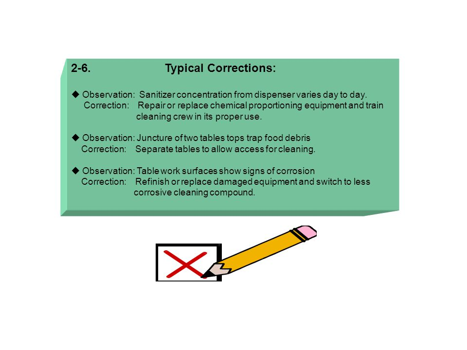 2-6.Typical Corrections:  Observation: Sanitizer concentration from dispenser varies day to day.