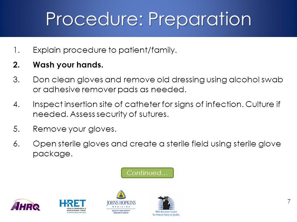 Procedure: Sterilization 7.Open Chlorhexidine Gluconate 2% with Isopropyl Alcohol 70% swab and drop onto sterile field.