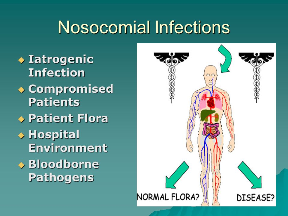 Nosocomial Infections  Iatrogenic Infection  Compromised Patients  Patient Flora  Hospital Environment  Bloodborne Pathogens