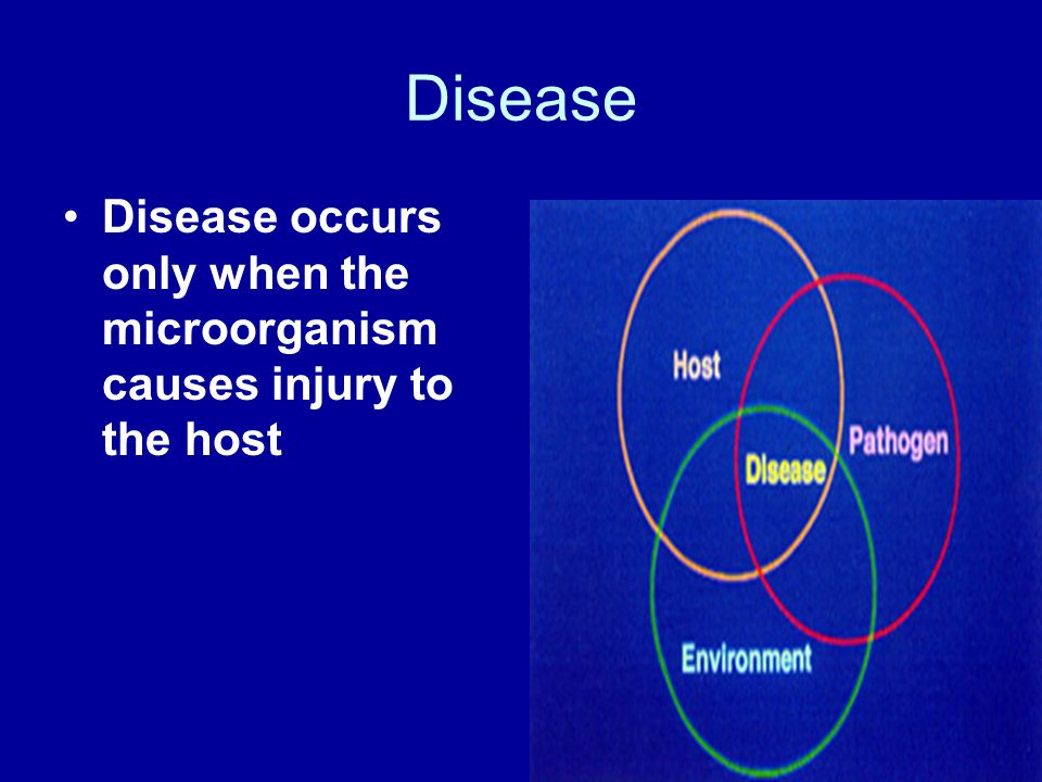 Disease Disease occurs only when the microorganism causes injury to the host