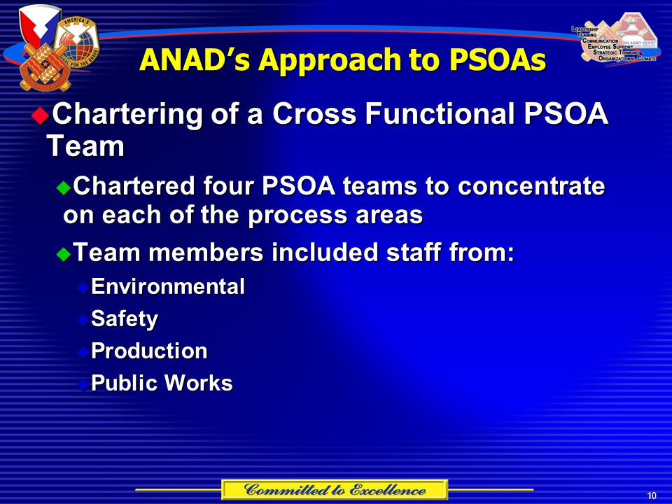 10 ANAD's Approach to PSOAs  Chartering of a Cross Functional PSOA Team  Chartered four PSOA teams to concentrate on each of the process areas  Tea
