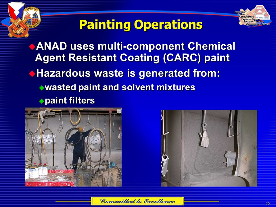 20 Painting Operations  ANAD uses multi-component Chemical Agent Resistant Coating (CARC) paint  Hazardous waste is generated from:  wasted paint and solvent mixtures  paint filters