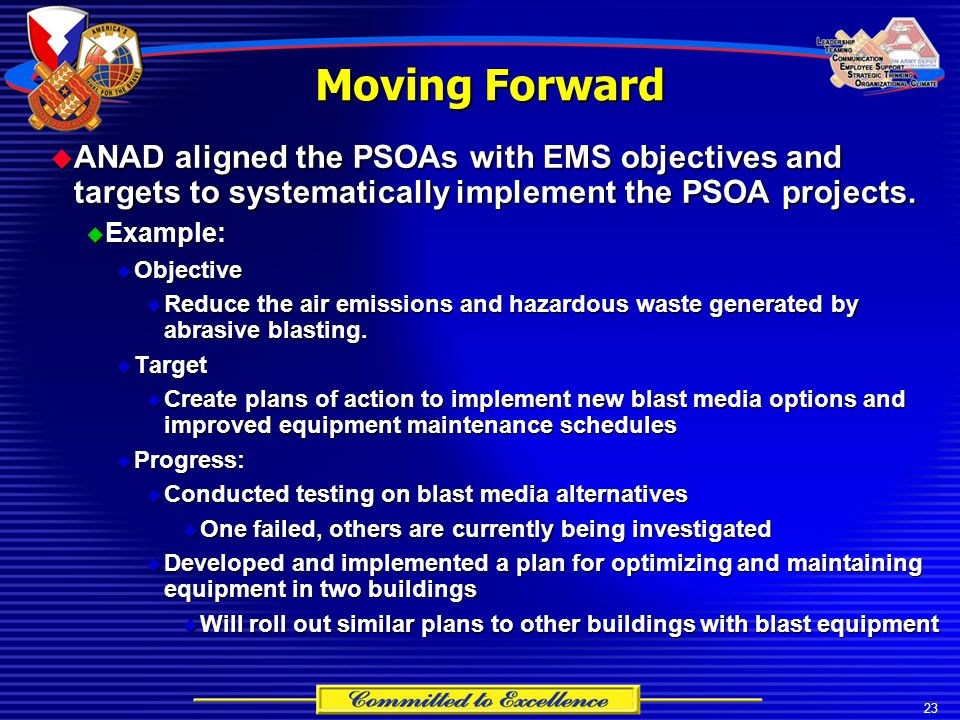23 Moving Forward  ANAD aligned the PSOAs with EMS objectives and targets to systematically implement the PSOA projects.