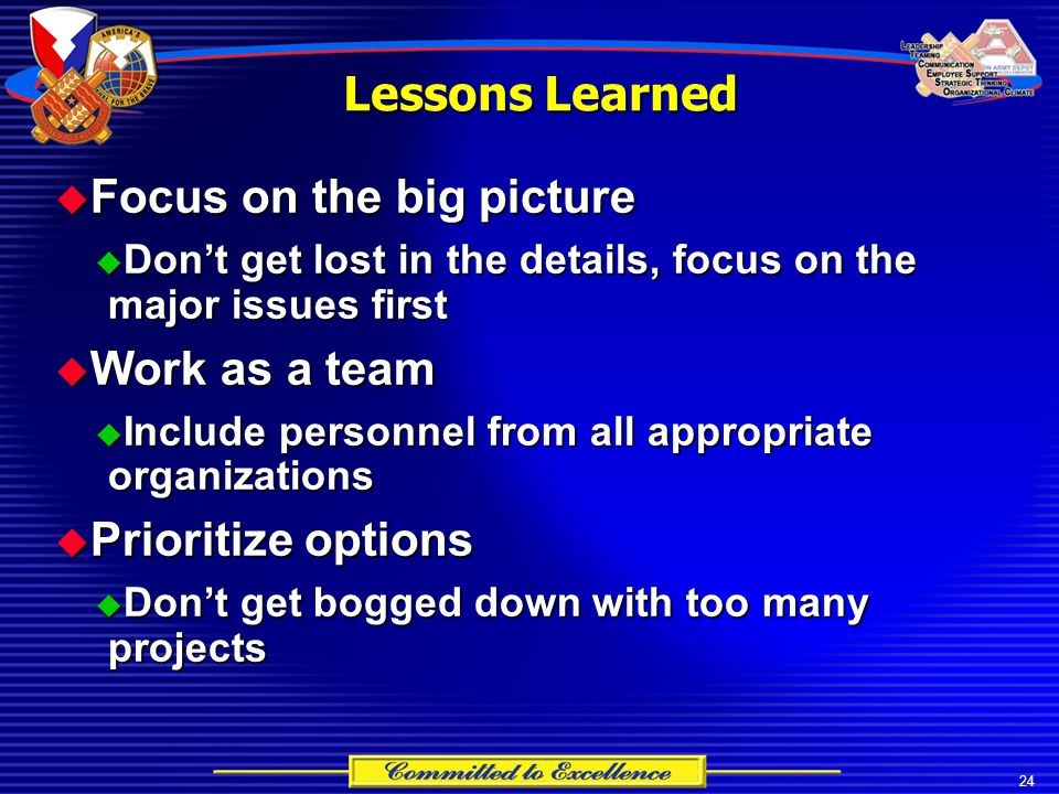 24 Lessons Learned  Focus on the big picture  Don't get lost in the details, focus on the major issues first  Work as a team  Include personnel fr