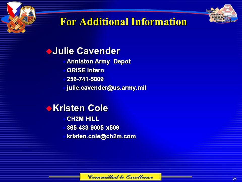 25 For Additional Information  Julie Cavender  Anniston Army Depot  ORISE Intern  256-741-5809  julie.cavender@us.army.mil  Kristen Cole  CH2M HILL  865-483-9005 x509  kristen.cole@ch2m.com