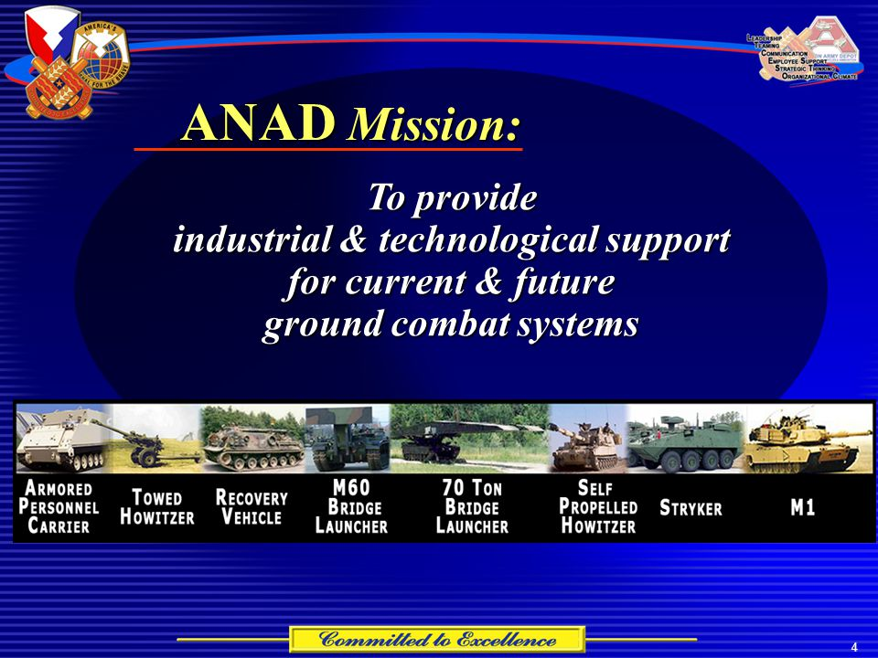 4 To provide industrial & technological support for current & future ground combat systems ANAD Mission: