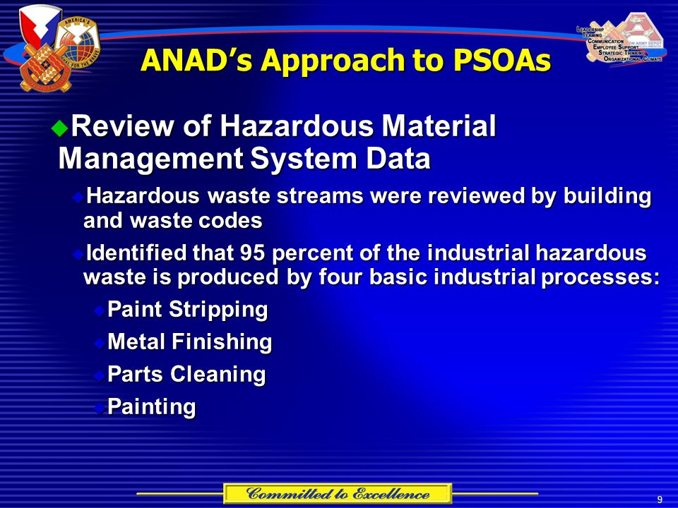 9  Review of Hazardous Material Management System Data  Hazardous waste streams were reviewed by building and waste codes  Identified that 95 perce