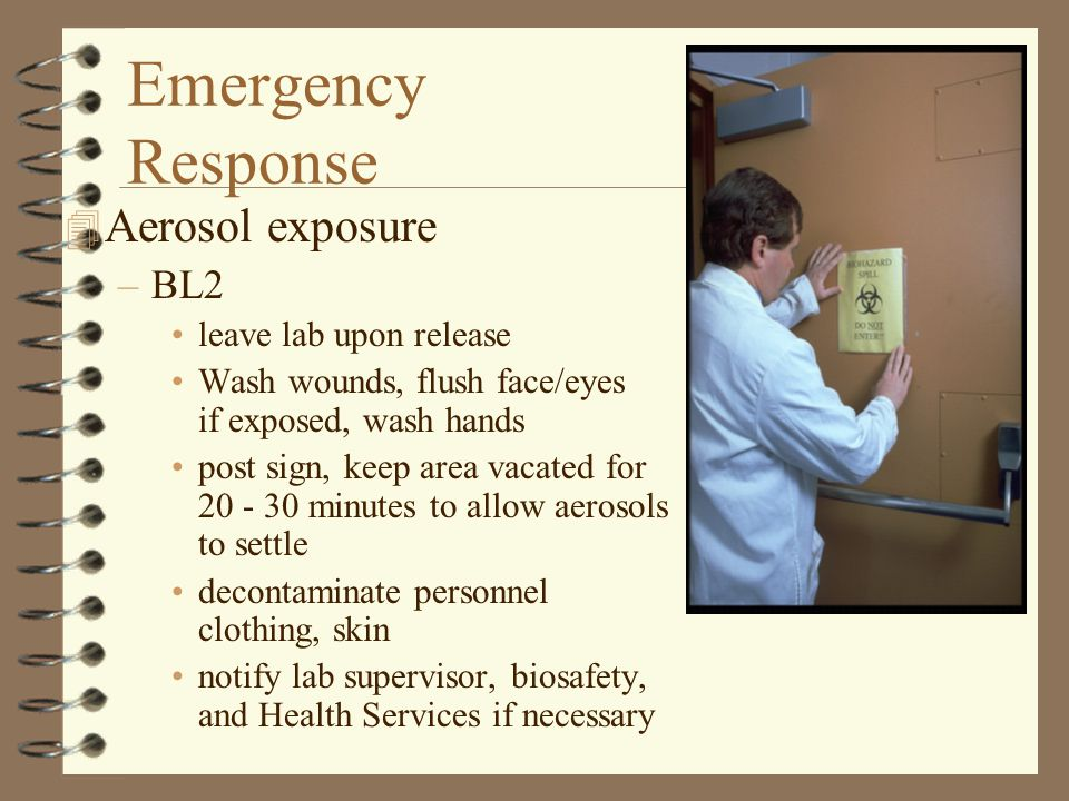 Emergency Response 4 Aerosol exposure –BL2 leave lab upon release Wash wounds, flush face/eyes if exposed, wash hands post sign, keep area vacated for 20 - 30 minutes to allow aerosols to settle decontaminate personnel clothing, skin notify lab supervisor, biosafety, and Health Services if necessary