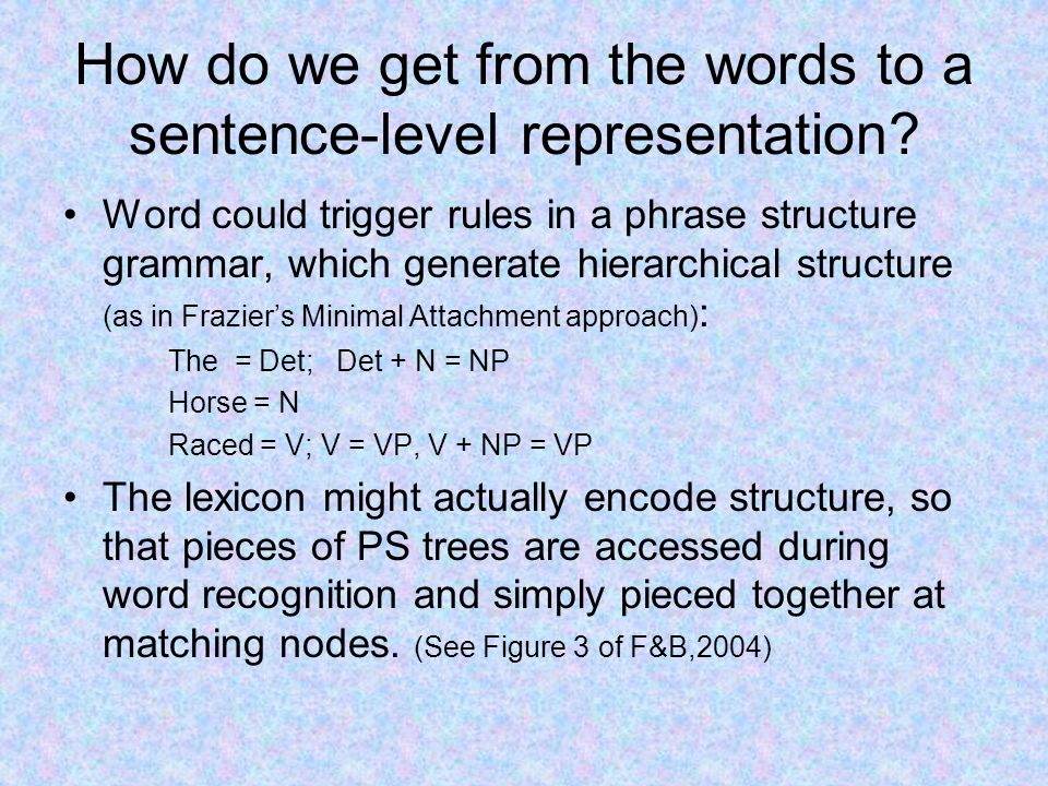 How do we get from the words to a sentence-level representation.